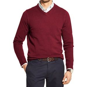 IZOD burgundy pullover v-neck sweater size L